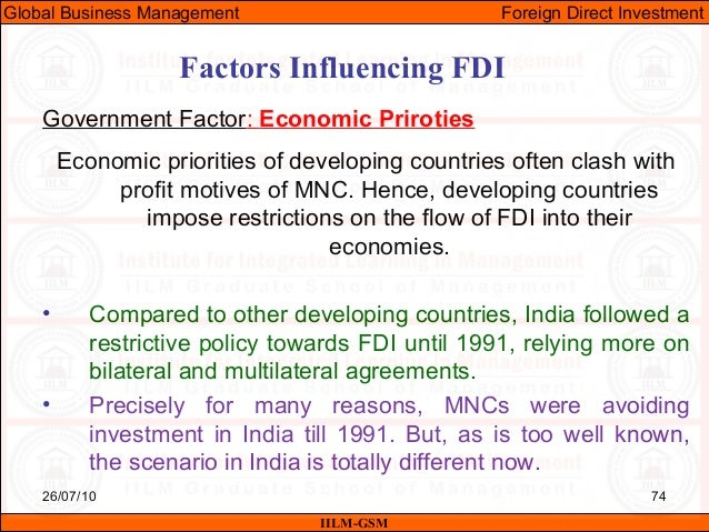 factors influencing mncs investment choice in india Is to study the key factors influencing danish fdi in romania  multinational  companies through their foreign direct investments (fdi) influence and are   what were their choice of entry modes and how did they cope with the national  institutional  investment to larger countries like russia, china, and india  where they.