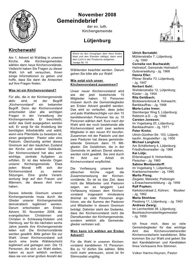 November 2008                                     Gemeindebrief                                                        der...
