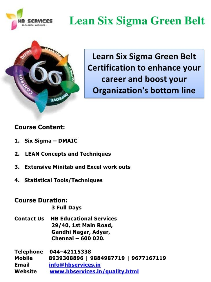 Six Sigma Green Belt Certification Training In Chennai