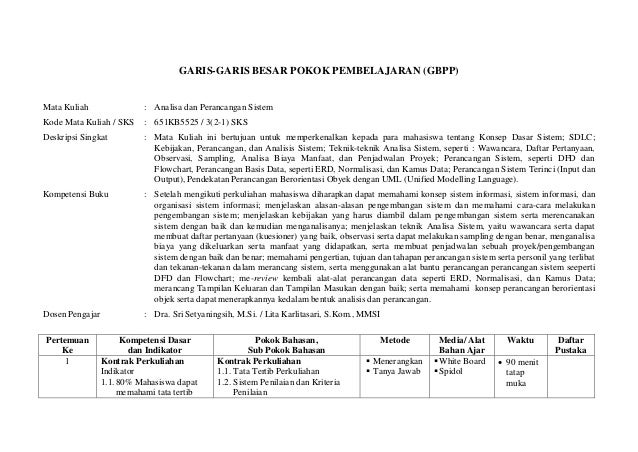 GARIS-GARIS BESAR POKOK PEMBELAJARAN (GBPP)Mata Kuliah                 : Analisa dan Perancangan SistemKode Mata Kuliah / ...