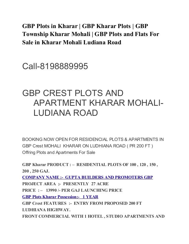 GBP Plots in Kharar | GBP Kharar Plots | GBP  Township Kharar Mohali | GBP Plots and Flats For  Sale in Kharar Mohali Ludi...