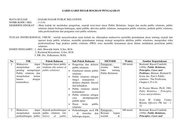 GARIS-GARIS BESAR ROGRAM PENGAJARAN   MATA KULIAH       : DASAR-DASAR PUBLIC RELATIONS NOMR KODE / SKS   : 3 (3-0) DESKRIP...