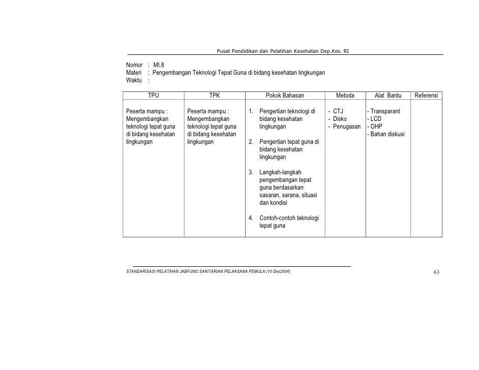 Pusat Pendidikan dan Pelatihan Kesehatan Dep.Kes. RINomor : MI.8Materi : Pengembangan Teknologi Tepat Guna di bidang keseh...