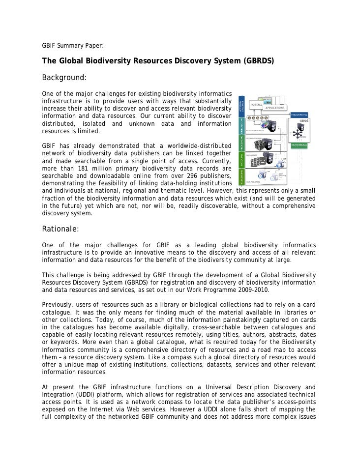 GBIF Summary Paper:  The Global Biodiversity Resources Discovery System (GBRDS)  Background: One of the major challenges f...