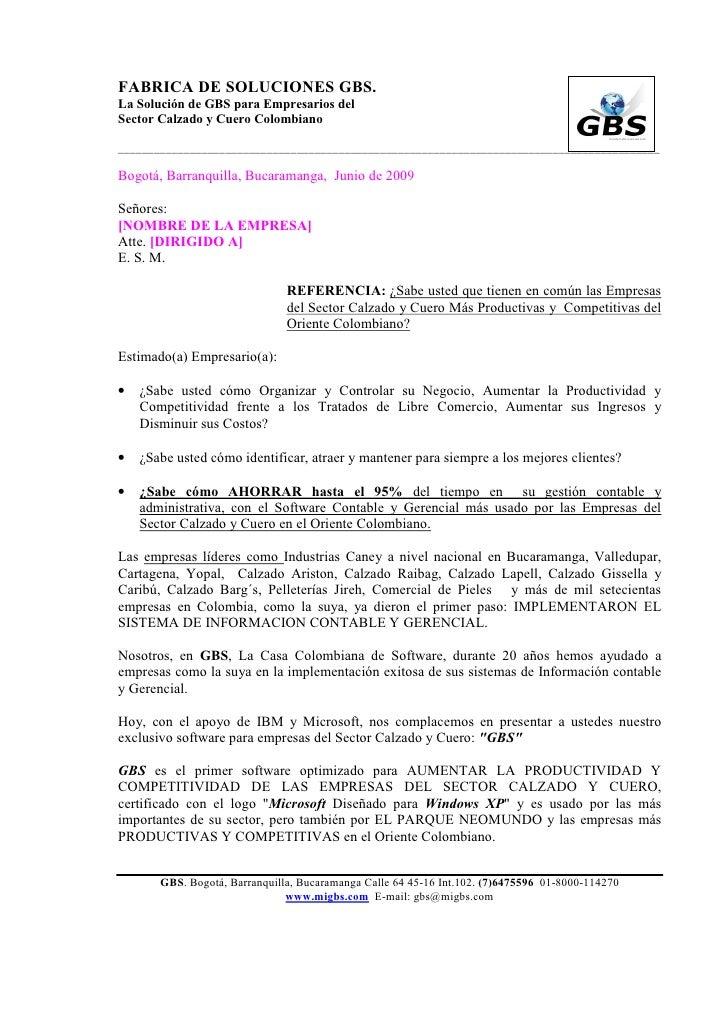 FABRICA DE SOLUCIONES GBS.La Solución de GBS para Empresarios delSector Calzado y Cuero Colombiano________________________...