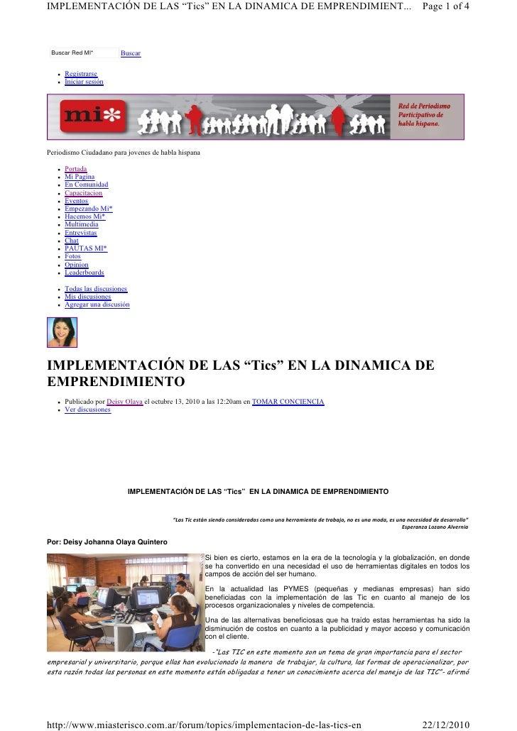 """IMPLEMENTACIÓN DE LAS """"Tics"""" EN LA DINAMICA DE EMPRENDIMIENT...                                                           ..."""
