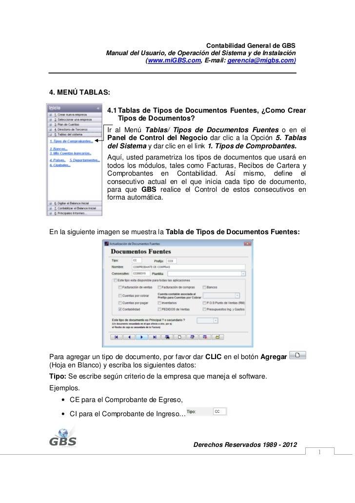 Contabilidad General de GBS                 Manual del Usuario, de Operación del Sistema y de Instalación                 ...
