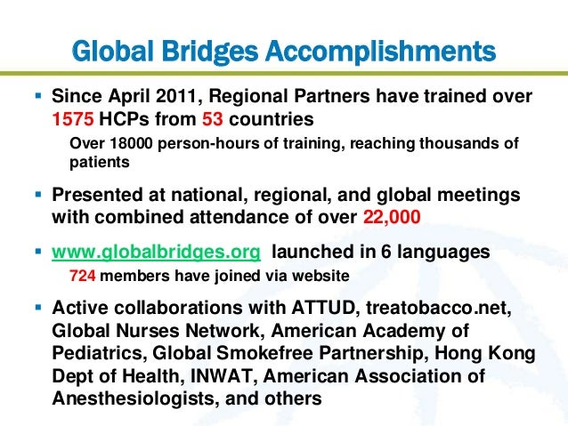 Global Bridges Accomplishments Since April 2011, Regional Partners have trained over  1575 HCPs from 53 countries   Over ...