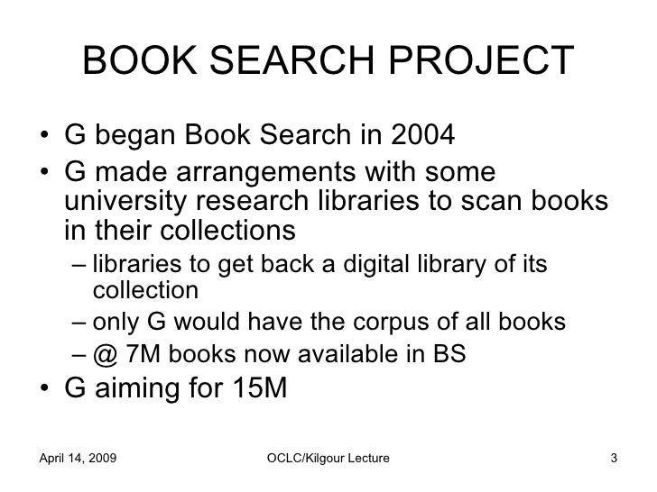 Reflections on the Google Book Search Settlement by Pamela Samuelson Slide 3