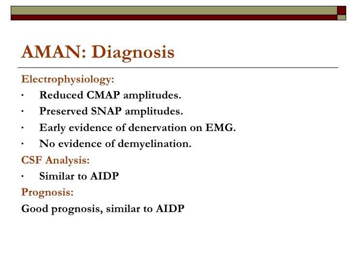 AMAN: Diagnosis <ul><li>Electrophysiology: </li></ul><ul><li>Reduced CMAP amplitudes. </li></ul><ul><li>Preserved SNAP amp...