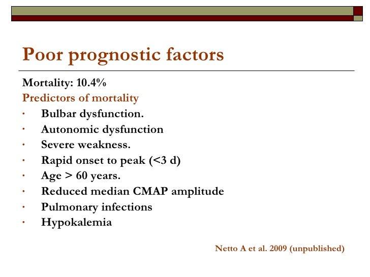 Poor prognostic factors <ul><li>Mortality: 10.4% </li></ul><ul><li>Predictors of mortality </li></ul><ul><li>Bulbar dysfun...