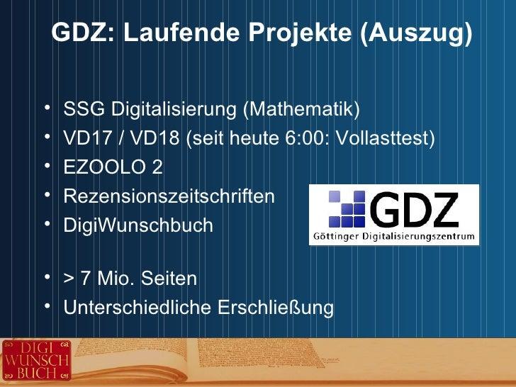 Kooperative Angebote von GBV und GDZ im Bereich Digitalisierung Slide 2