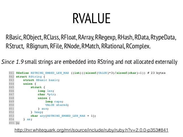 RVALUE 841 #define RSTRING_EMBED_LEN_MAX ((int)((sizeof(VALUE)*3)/sizeof(char)-1)) # 23 bytes! 842 struct RString {! 843 s...