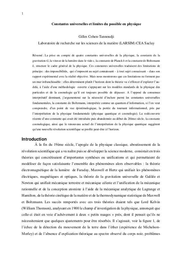 1 Constantes universelles et limites du possible en physique Gilles Cohen-Tannoudji Laboratoire de recherche sur les scien...