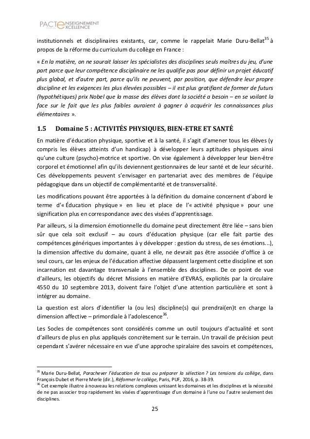 pacte d u0026 39 excellence   rapport sur le tronc commun