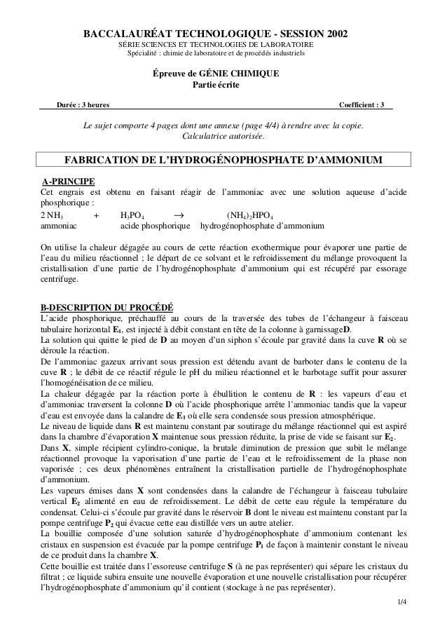 1/4 Le sujet comporte 4 pages dont une annexe (page 4/4) à rendre avec la copie. Calculatrice autorisée. FABRICATION DE L'...
