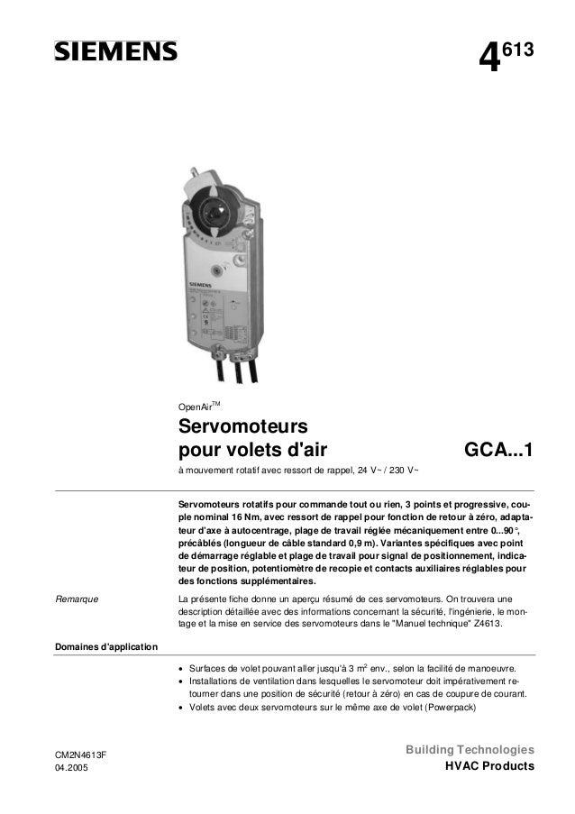 4  613  OpenAirTM  Servomoteurs pour volets d'air  GCA...1  à mouvement rotatif avec ressort de rappel, 24 V~ / 230 V~  Se...