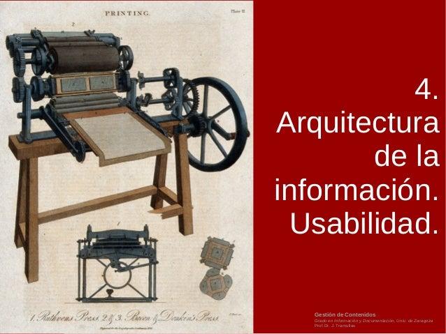 Gestión de Contenidos Grado en Información y Documentación, Univ. de Zaragoza Prof.Dr. J. Tramullas 4. Arquitectura de la ...