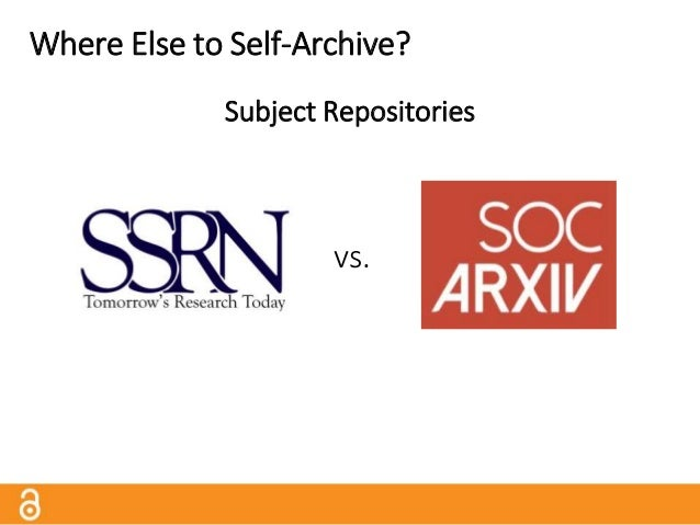 Where Else to Self-Archive? Commercial Sites ResearchGate.net and Academia.edu encourage users to upload their works, but ...