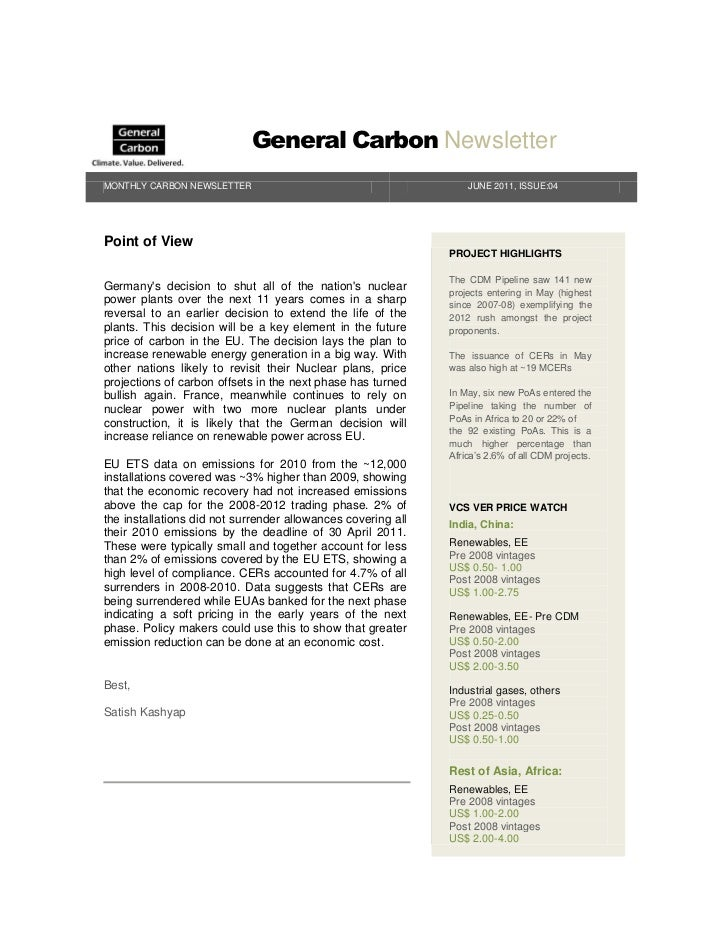 General Carbon NewsletterMONTHLY CARBON NEWSLETTER                                         JUNE 2011, ISSUE:04Point of Vie...
