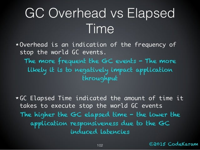 ©2015 CodeKaram GC Overhead vs Elapsed Time Overhead is an indication of the frequency of stop the world GC events. The mo...