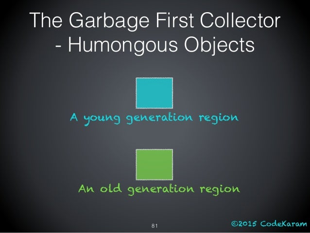 ©2015 CodeKaram The Garbage First Collector - Humongous Objects 81 An old generation region A young generation region
