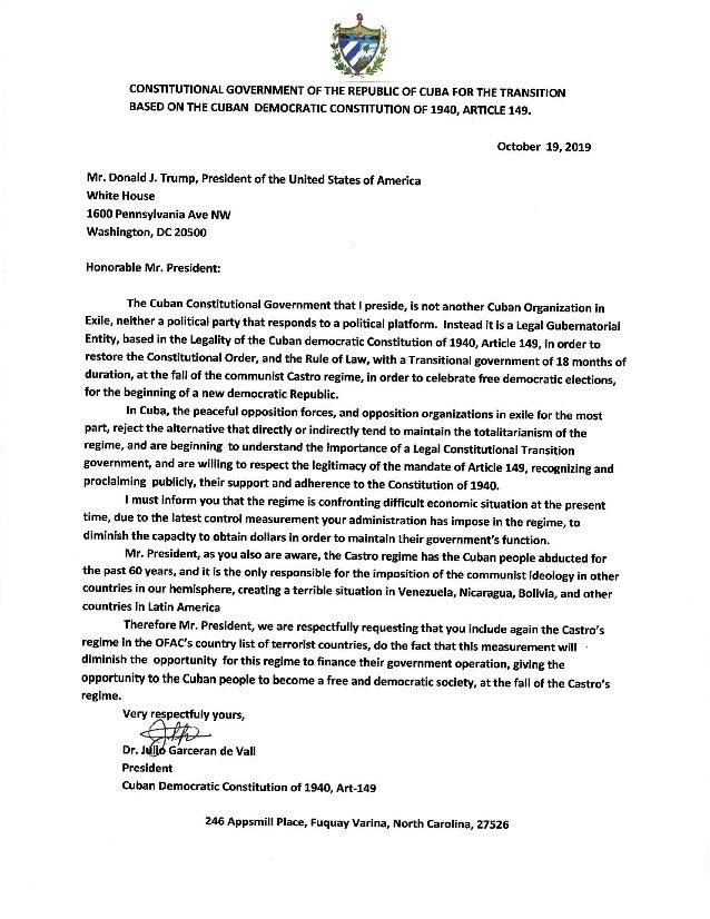 GCCT Carta a Donald Trump