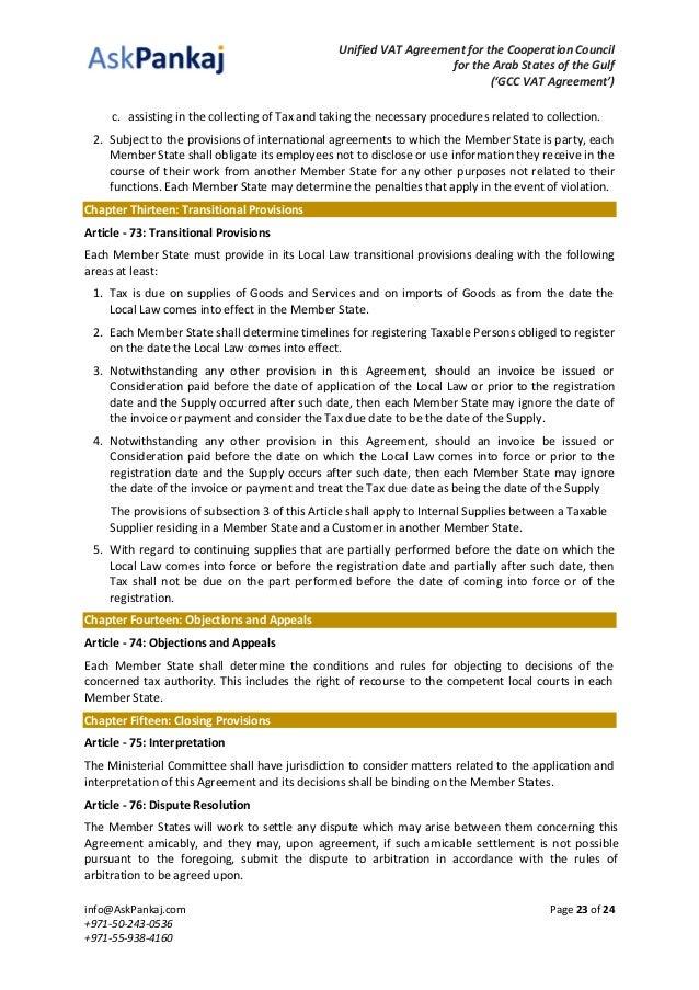 Gcc Vat Agreement With Index