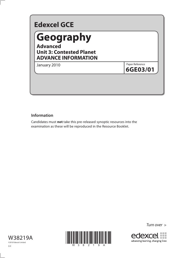 Edexcel GCE                             Geography                             Advanced                             Unit 3:...