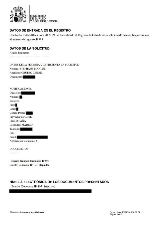 SUBSECRETARÍA DIRECCIÓN GENERAL DE LA INSPECCIÓN DE TRABAJO Y SEGURIDAD SOCIAL CORREO ELECTRÓNICO/ WEB: P-107 La Ley 11/20...