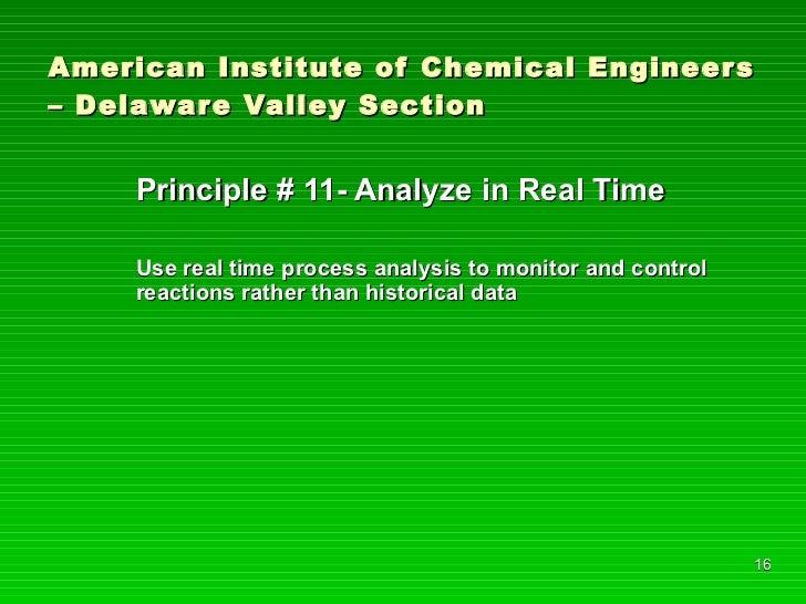 American Institute of Chemical Engineers – Delaware Valley Section <ul><li>Principle # 11- Analyze in Real Time </li></ul>...