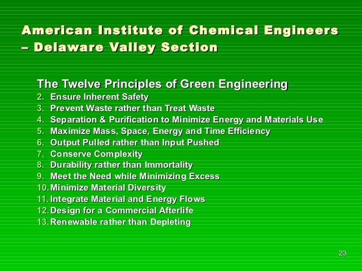 American Institute of Chemical Engineers – Delaware Valley Section <ul><li>The Twelve Principles of Green Engineering </li...