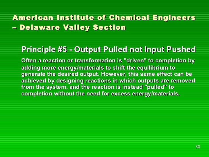 American Institute of Chemical Engineers – Delaware Valley Section <ul><li>Principle #5 - Output Pulled not Input Pushed <...
