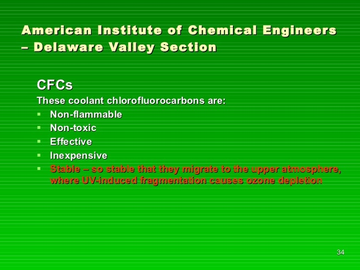 American Institute of Chemical Engineers – Delaware Valley Section <ul><li>CFCs </li></ul><ul><li>These coolant chlorofluo...