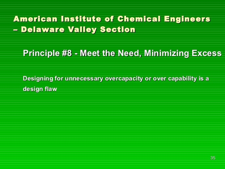 American Institute of Chemical Engineers – Delaware Valley Section <ul><li>Principle #8 - Meet the Need, Minimizing Excess...