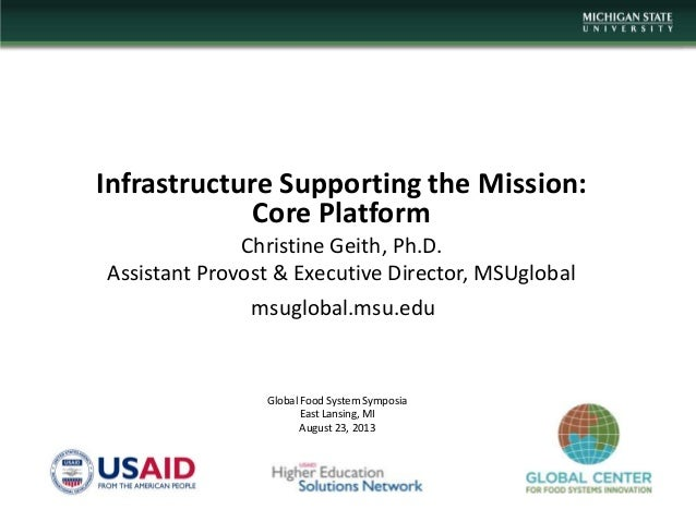 Infrastructure Supporting the Mission: Core Platform Christine Geith, Ph.D. Assistant Provost & Executive Director, MSUglo...