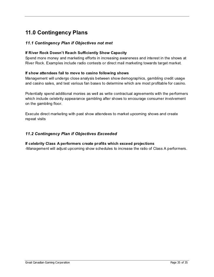 GCG Gaming Business Plan – Write Contingency Plan Template