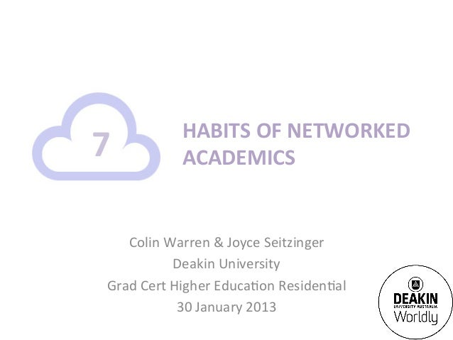 HABITS	  OF	  NETWORKED	  7	               ACADEMICS	       Colin	  Warren	  &	  Joyce	  Seitzinger	                    De...