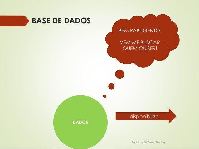 BASE DE DADOS  BEM RABUGENTO:  VEM ME BUSCAR  QUEM QUISER!  disponibiliza  Patricia de Sá Freire, Dra.Eng.  DADOS