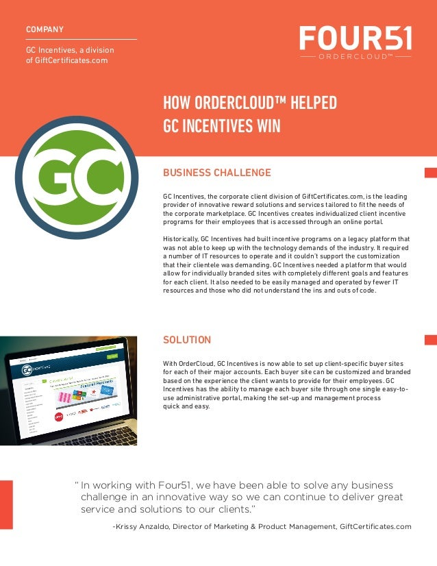 Case Study: GC Incentives Won with OrderCloud by Four51