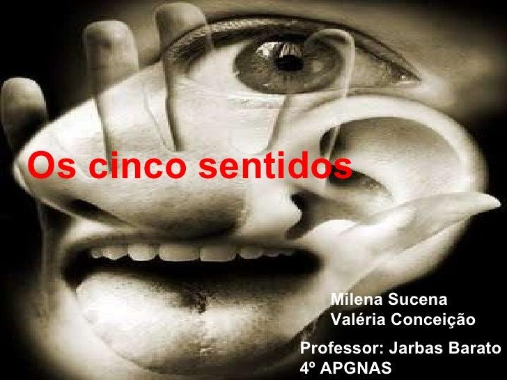 Os cinco sentidos Milena Sucena Valéria Conceição Professor: Jarbas Barato 4º APGNAS
