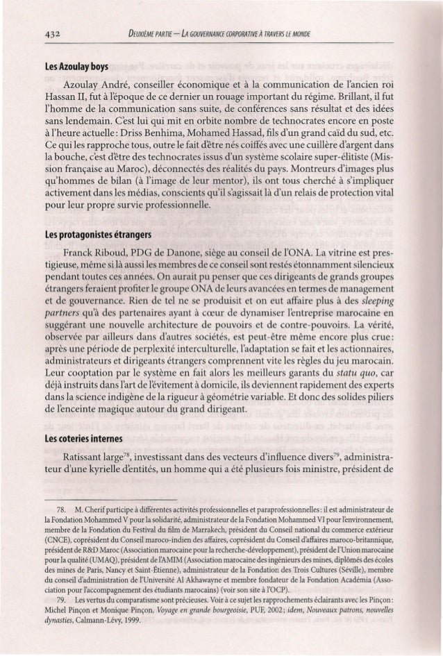 432  DEUXllME PARTIE  -LA  GOUVERNANŒ CORPORA TIVE À TRA VERS LE MONDE  Les Azoulay boys Azoulay André, conseiller économi...