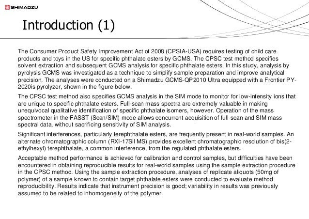 Evaluation Of Sample Pretreatment Procedures For The Determination Of  Phthalate Esters In Child Care Products And Childrenu0027s Toys By GCMS