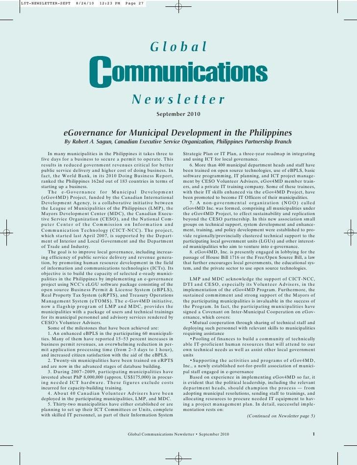 Global Communications Newsletter, September 2010