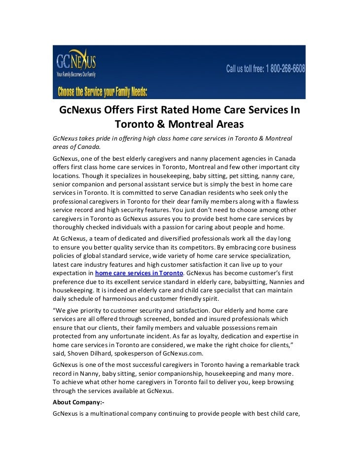 GcNexus Offers First Rated Home Care Services In            Toronto & Montreal AreasGcNexus takes pride in offering high c...