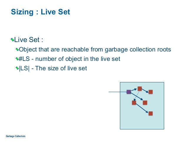 Sizing : Live Set Live Set : Object that are reachable from garbage collection roots #LS - number of object in the live se...