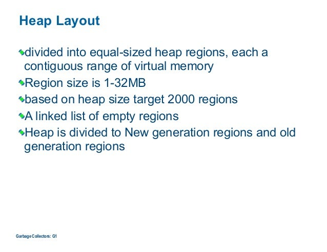 Heap Layout divided into equal-sized heap regions, each a contiguous range of virtual memory Region size is 1-32MB based o...