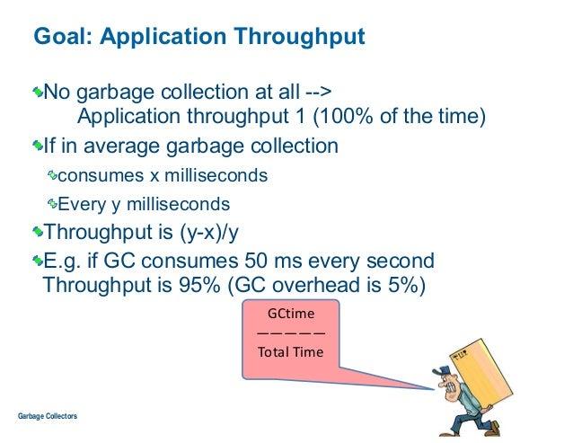 Goal: Application Throughput No garbage collection at all --> Application throughput 1 (100% of the time) If in average g...