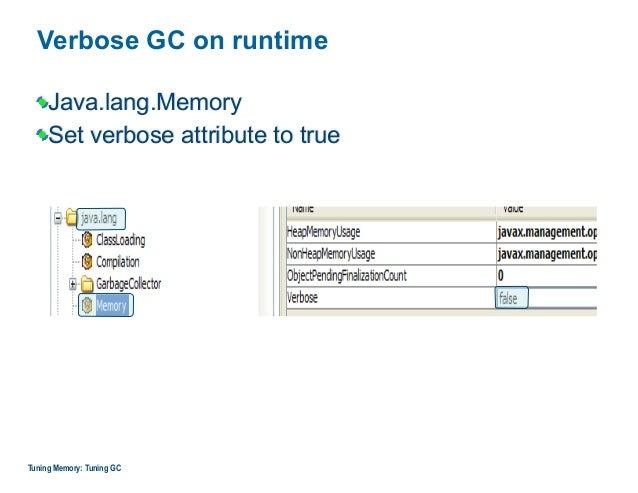 Verbose GC on runtime Java.lang.Memory Set verbose attribute to true Tuning Memory: Tuning GC