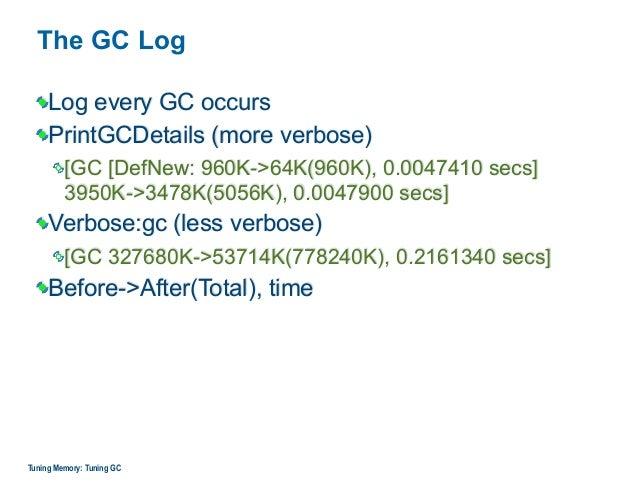 The GC Log Log every GC occurs PrintGCDetails (more verbose) [GC [DefNew: 960K->64K(960K), 0.0047410 secs]  3950K->3478K(...